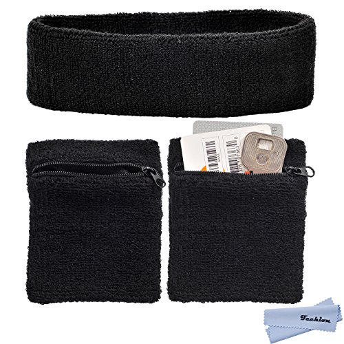 Techion Sports Sweatband Set Including 1 Pack Headband and 2 Pack Wristbands with Zipper Pocket / Wallet for Cycling, Running, Tennis and more (Black) (Zipper Band)