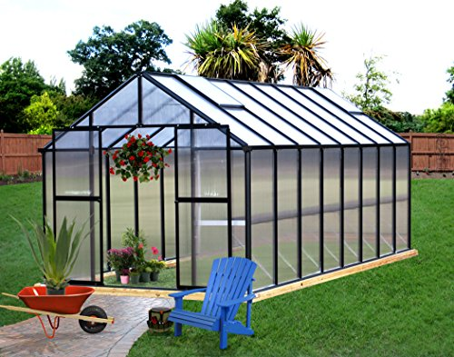 Monticello Greenhouse Premium Package, 8′ x 16′, Black Finish For Sale