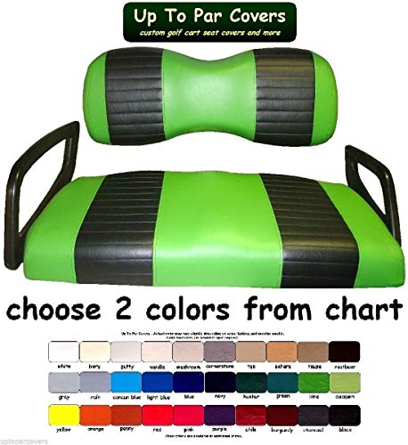 (Yamaha Drive Custom Golf Cart Front Seat Cover Set PLUS Rear Seat Cover Set Combo - TWO STRIPE STAPLE ON)