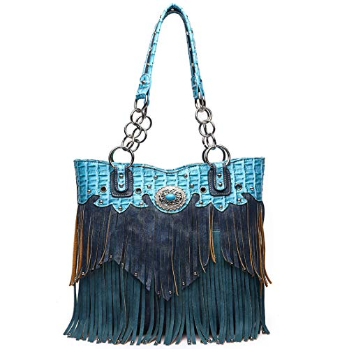 - Western Style Fringe Handbag Concealed Carry Purse Country Large Tote Conchos Purse Women Shoulder Bag (Turquoise)