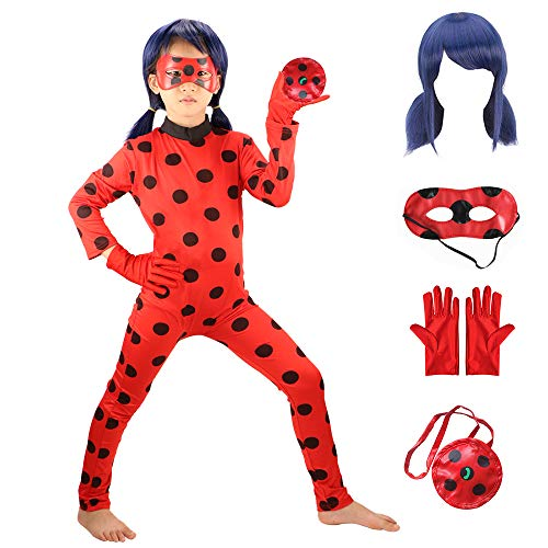 GREATCHILDREN Ladybug Girls Costume COSPLAY Jumpsuit for Halloween birthday party set ()