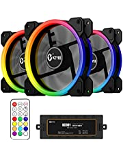 KZYEE Wireless RGB Case Fan, 120mm Ultra Low Noise High Airflow Dual Light Loop LED Cooling Fan with Controller, Great for Gaming Computer Cases, CPU Coolers and Radiators