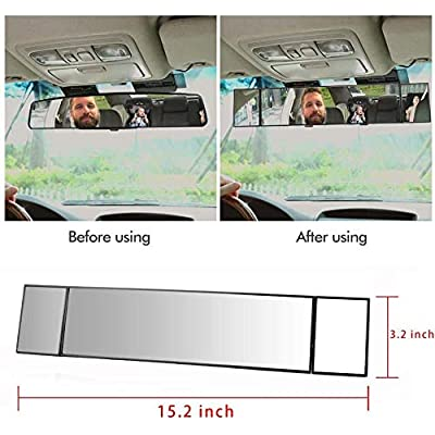 MIAOKE Rear View Mirror, 15-inch Clip on Rearview Mirrors, Wide Angle Curved Rearview Mirror, Interior Blind Spot Mirrors for Car: Automotive