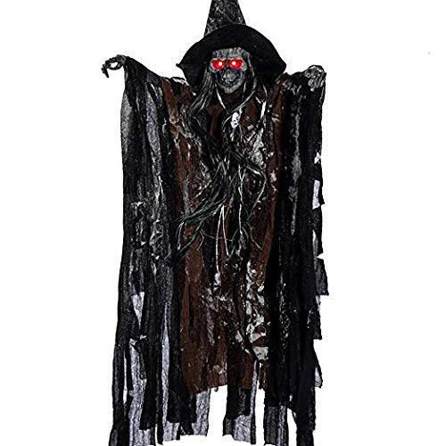 Halloween Hanging Skeleton Ghost Animated Scary Sound with LED Eyes Party Decor