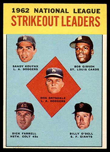 1963 Topps #9 Drysdale/Koufax/Gibson/Farrell/amp;#39;Dell NL Strikeout Leaders - Amps Gibson