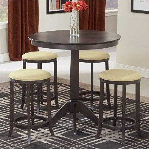 Hillsdale Tiburon Pub Table w/4 Backless Stools (Suede Backless Stools Bar)