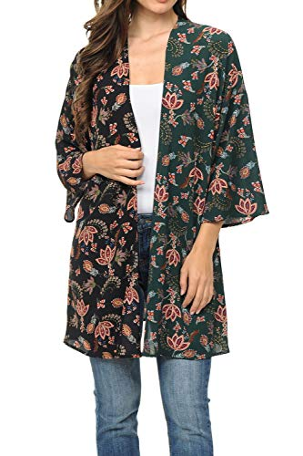 Auliné Collection Womens USA Made Casual Cover Up Cape Gown Robe Cardigan Kimono S2T1 Liberty FL Green/Bk XL - Liberty Print Blouses