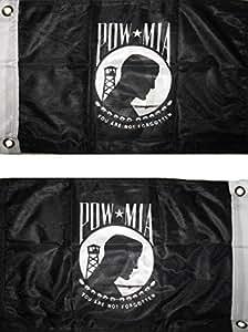 """Pow MIA Negro & Blanco 12""""x18"""" 2Faced doble cara de 2capas resistente al viento bandera de poliéster con ojales"""