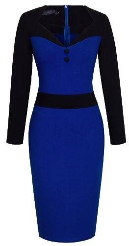 HOMEYEE Women's Retro Fitted Pencil Bodycon Sheath Career Formal Dresses B344
