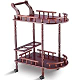 Trolley Cart Storage Wine Rack Stand Cherry Tier Shelf Shelves bottles glass holder