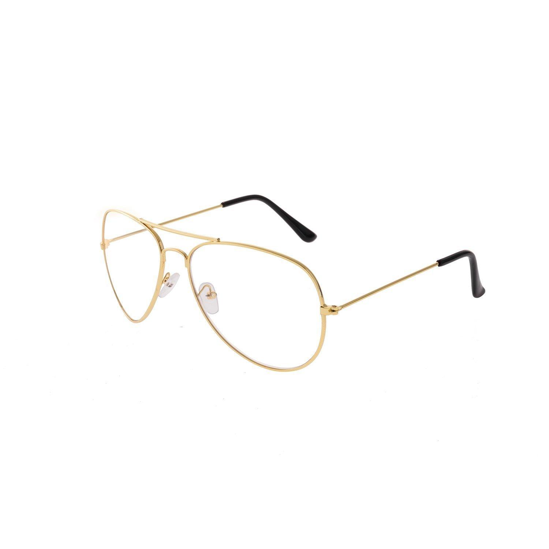 Metal Frame Clear lens Aviator Glasses Metal Vintage Retro Fashion Glasses Eyewear Unisex