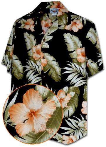 Hibiscus Shirt Hawaiian (Hawaiian Shirts With Orange Hibiscus in Black M 410-3743)