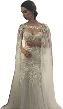 Faithclover Bridal Capes Tulle Floral Lace Appliques Cathedral Wedding Cloak Bridal Wraps Jacket