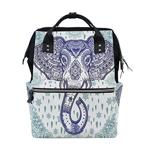 WOZO Retro Bohemian Elephant Paisley Flower Multi-function Diaper Bags Backpack Travel - Paisley Backpack Bag Diaper