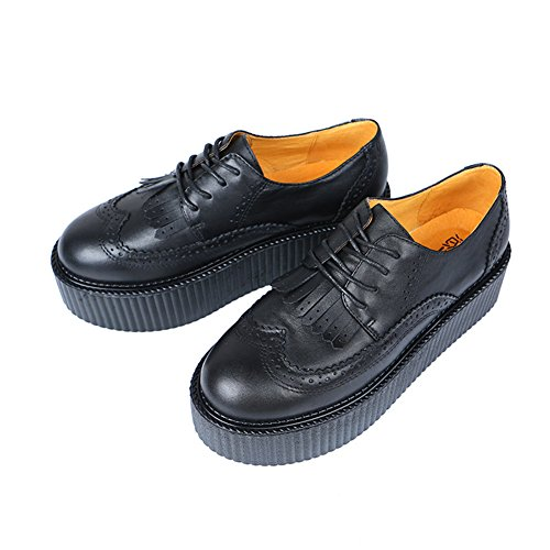 RoseG Femmes Cuir Lacets Flache Gothic Punk Creepers Chaussures