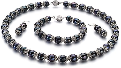 PearlsOnly - MarieAnt Black 8-9mm AA Quality Freshwater Cultured Pearl Set
