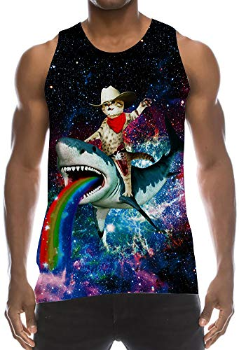 Mens Athletic Muscle Stringer Tank Vest Top Compression Tight Sleeveless Designer Styles Tees Galaxy Captain Cat Riding Shark with Rainbow Fashion Ribbed Mesh Shirts for Surf Running Training