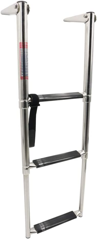 New 3 Steps Boat Marine Telescoping Stainless Steel Ladder with Slide Mount AM