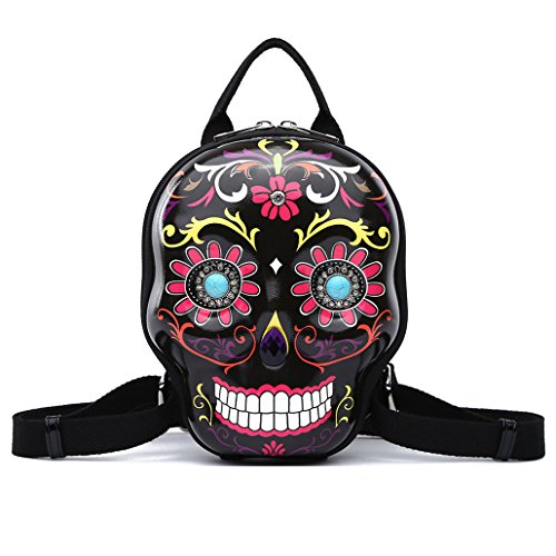 Sugar Skull Day of the Dead Small Backpack Women Purse Fashion Calavera Daypack -