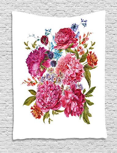 Shabby Chic Decor Tapestry by Ambesonne, Gentle Summer Flora Hyacinths Blackberry and Peonies Victorian Vegetation, Wall Hanging for Bedroom Living Room Dorm, 40 W X 60 L Inches, Multicolor