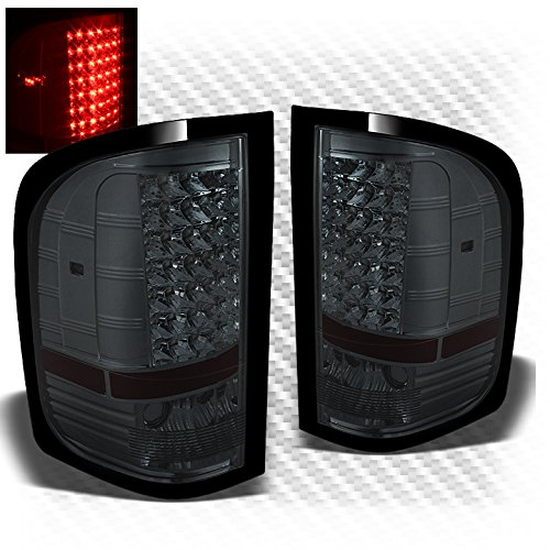 Smoked Led Rear Lights (For 2007-2014 Silverado Smoked LED Perform Tail Lights Rear Brake Lamps Upgrade Pair L+R/2008 2009 2010 2011 2012 2013)