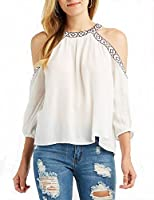 POISON IVY Casual 3/4th Sleeve Off Shoulder Solid Women's White Top