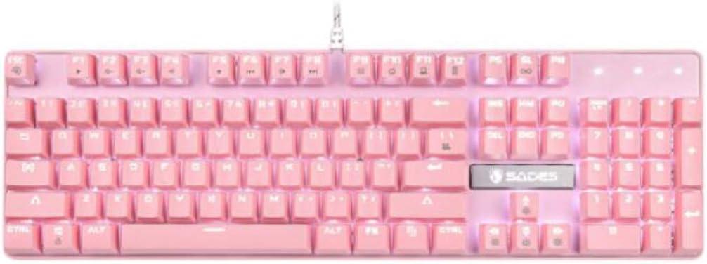 Youshangshipin Mechanical Keyboard 104-key Esports LOL Eating Chicken Keyboard Gaming Keyboard Pink Green Axis Key Life of 10 Million Times or More. Color : Pink