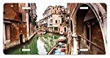 zaeshe3536658 Venice License Plate, Famous Water Canals in Italy Boats Bridge Brickwork Architecture Old City, High Gloss Aluminum Novelty Plate, 6 X 12 Inches, Cinnamon Jade Green