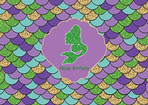 WOLADA 7x5ft Baby Birthday Photo Backdrops Purple Teal Photo Background Glitter Gold Mermaid Themed Colorful Shell Happy Birthday Party Decoration Backdrops for Photography Props 11335]()