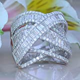 by lucky Womens Fashion Jewelry 925 Silver White Sapphire Wedding Bridal Ring Size 6-10 (6)