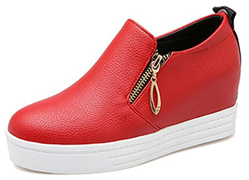 Heel IDIFU Platform Zipper Hidden With Casual Loafers Red Mid On Womens Wedge Sneakers Slip att0wr