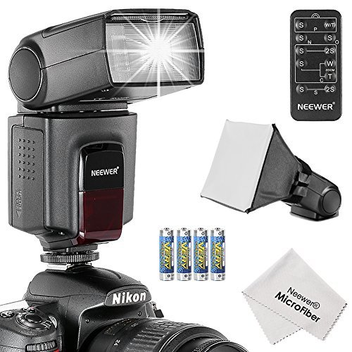 Neewer® TT520 Speedlite Flash Blitzgerät für Canon Nikon Olympus Fujifilm und jeden Digitalkamera mit einem Standard hot Schuhe Mount, enthält: (1) TT520 Blitzgerät + (1) Universal Mobile Softbox Blitzgerät Diffusor + (1) 5-in-1 Multi Funktion Universalfernbedienung (für Nikon D3200 D3100 D3000 D3300 D5000 D5100 D5200 D5300 D7000 D7100, Canon T3i T4i T5i SL1 60D 70 5 6 D 7 D Sony A230 A33O A450 A500) + (4) Batterien + (1) Micro Reinigungstuch