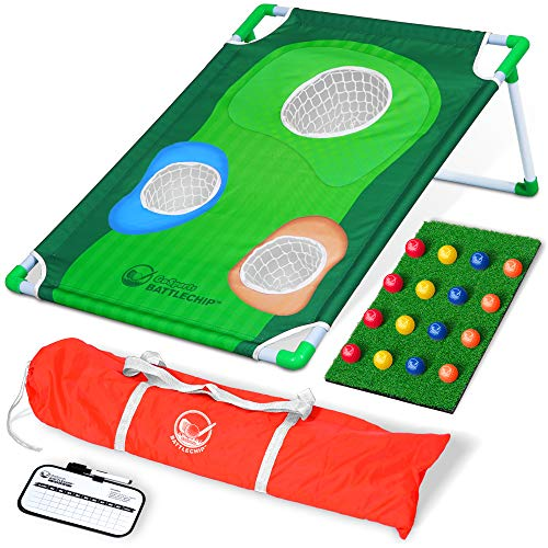 GoSports BattleChip Backyard Golf Cornhole Game | Includes Chipping Target, 16 Foam Balls, Hitting Mat and Carrying Case