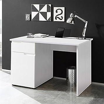 Schreibtisch weiß hochglanz B 120 cm PC Computertisch ...
