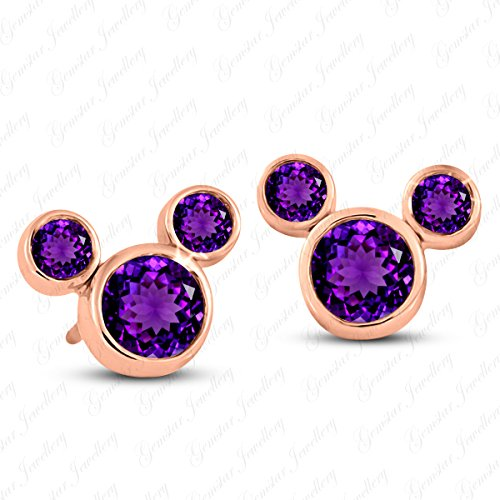 Gemstar Jewellery Solid 14k Rose Gold Finish Round Cut Amethyst Mickey Mouse Stud Fashion Earrings