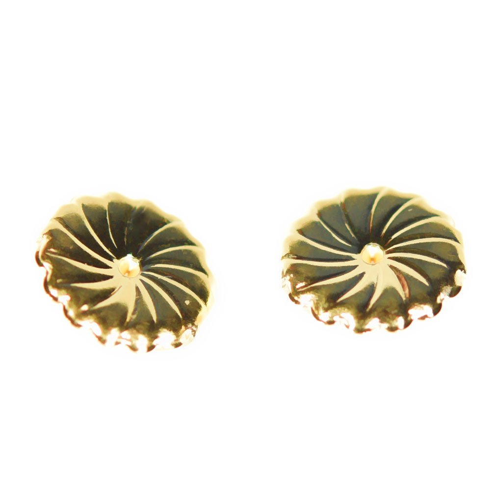 Solid 14K Yellow Gold Earring Backs Jumbo Premium Swirl 9mm (1 Pair) by uGems (Image #1)