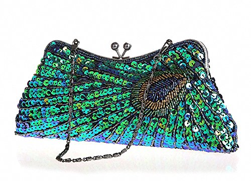 Wedding Handbag Navy Pattern Antique Beaded Vintage Sunburst Peacock Purse Awise Party Unusual Blue3 Peacock Clutch Eye Blue3 Fashion Exquisite Turquoise Sequin Retro Catching Evening and Teal Women's HqwTqa