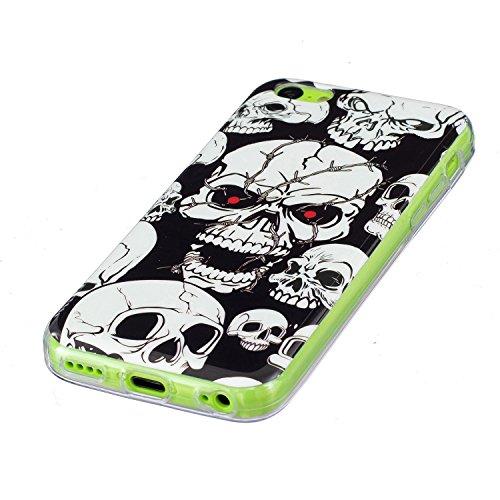 iPhone 5C Schutzhülle , LH Schädel TPU Weich Muschel Tasche Schutzhülle Silikon Hülle Schale Cover Case Gehäuse für Apple iPhone 5C