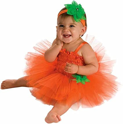 FANCYINN Baby Girls Pumpkin Skeleton Tutu Dress Baby Girls My 1st Disfraz de Halloween Conjunto de 2 Piezas