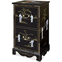 China Furniture Online 2-Drawer Black Lacquer Mother of Pearl File Cabinet