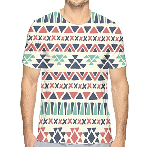 LEATHERS Ethnic Multicolour Men O-Neck T-Shirt Short Sleeve Baseball Jersey Top -