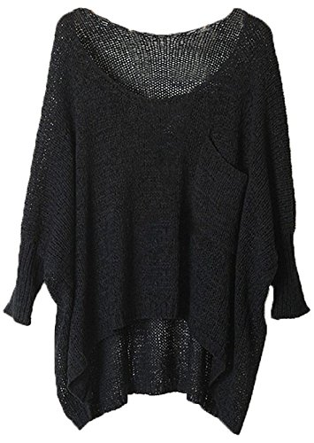 URqueen Women's Round Neck Long Sleeve Basic Soft Knit Cardigan Sweater Black