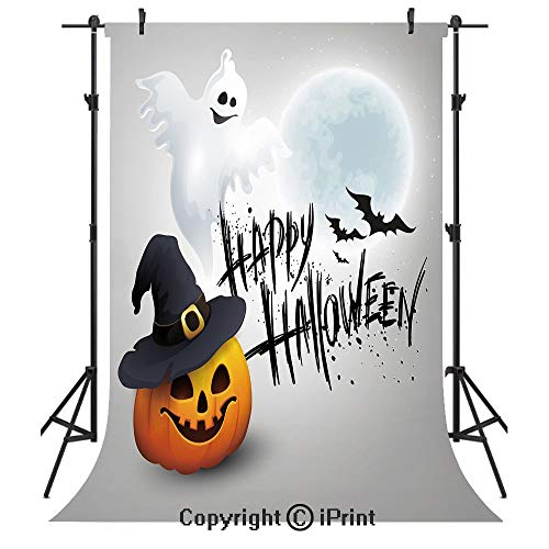 Halloween Photography Backdrops,Happy Celebration Typography Stained Look Cute Ghost Pumpkin Hat Print Decorative,Birthday Party Seamless Photo Studio Booth Background Banner 5x7ft,White Black Orange ()