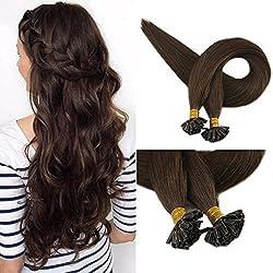 "Full Shine 22"" 1G per Strand 50 Grams Per Package U Tip Remy Human Hair Extensions Medium Brown Hair Extensions Color #4 Keratin Extensions Hair Utip Extensions"