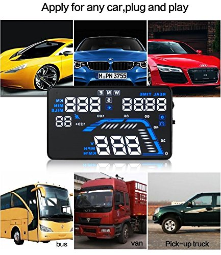 YICOTA Car HUD GPS Head Up Display 5.5'' Colorful LED Dashboard Projector Speed Warning System Compatible with All Cars (Q7)