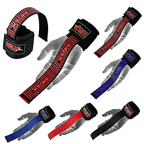 Weight Lifting Bar Straps With Wrist Support Wraps In Various Colours (Black/Red)