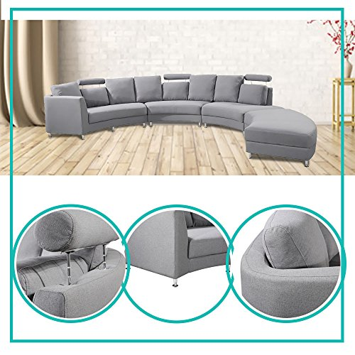 Rounded Sectional Sofa Convertible Semi-Firm Curved Sleek Upholstery And Geometric Back With Four Included Sections Combine To Form An Expansive Sofa Modern And Contemporary Design Fabric Beige Grey