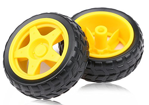 4PCs DC Electric Motor 3-6V Dual Shaft Geared TT Magnetic Gearbox Engine with 4Pcs Plastic Toy Car Tire Wheel, Mini Φ67mm Smart RC Car Robot Tyres Model Gear Parts, Yeeco by Yeeco (Image #4)