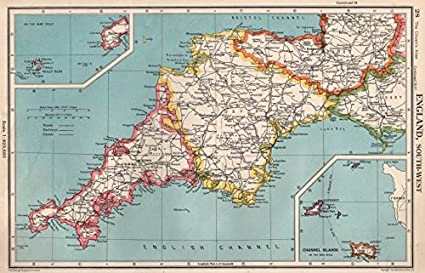 Map Of England Cornwall.South West England Devon Cornwall Bartholomew 1952
