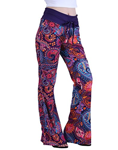 (HDE Womens Cotton Pajama Pants Wide Leg Sleepwear Casual Loose Lounge PJ Bottoms,Purple)